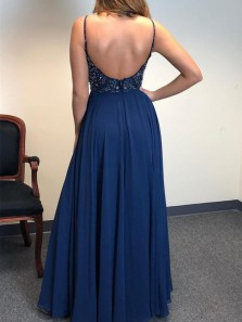 Gorgeous A-Line V Neck Backless Navy Blue Chiffon Long Prom Dresses with Beading High Slit,Evening Party Dresses