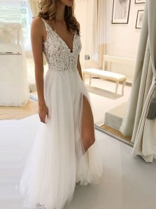 Gorgeous A-Line V Neck Open Back White Tulle Wedding Dresses with Lace