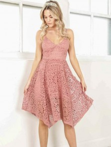 Elegant A Line V Neck Spaghetti Straps Blush Lace Short Bridesmaid Dresses