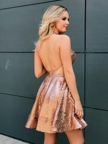Stylish Deep V Neck Halter Gold Sequins Backless A-Line Short Homecoming Dresses,Charming Short Prom Party Dresses DG0912010
