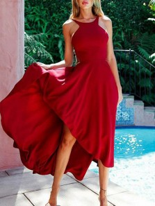 Modest A-Line Halter Open Back Dark Red Satin High Low Prom Dresses,Charming Evening Party Dresses Cocktail Dresses