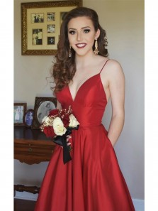 Simple Sexy A line V Neck Straps Red Long Prom Dress,Charming Red Long Evening dress