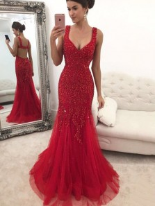 Charming Mermaid Low Cut Open Back Red Beading Long Prom Dresses,Formal Evening Party Dresses
