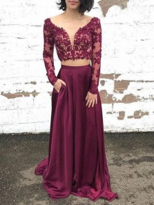 Elegant Two Piece A-Line V Neck Long Sleeve Burgundy Satin Long Prom Dresses with Lace,Evening Party Dresses 191118010