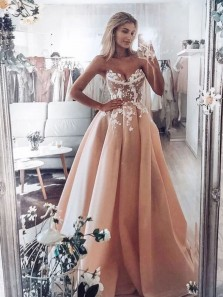 Stunning Ball Gown Sweetheart Open Back Blush White Lace Wedding Dresses,Long Prom Dresses