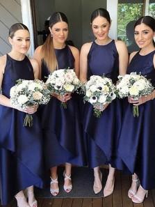 Simple A-Line Jewel Navy Blue Satin Ankle Length Bridesmaid Dresses