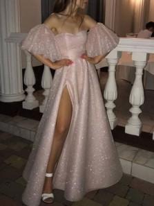 Sparkly A-Line Off the Shoulder Pink Sequins Long Prom Dresses with Split