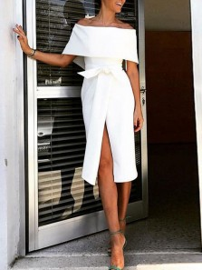 Sheath Off the Shoulder White Wedding Guest Dresses with Split Front