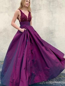 Charming A-Line V Neck Open Back Purple Satin Long Prom Evening Dresses with Pockets