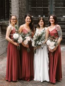 Simple A-Line V Neck Spaghetti Straps Chiffon Long Fall Bridesmaid Dresses Under 100