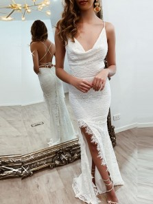 Gorgeous Mermaid Cowl Neck Cross Back White Lace Prom Evening Dresses with Hight Split,Formal Party Dresses