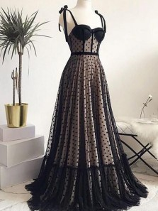 Charming A-Line Sweetheart Black Tulle Long Prom Evening Dresses,Formal Party Dresses
