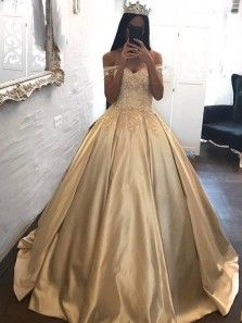 Luxurious A-Line Off the Shoulder Open Back Champagne Satin Long Prom Dresses with Lace,Formal Party Dresses