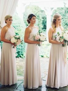 Simple A-Line Halter Open Back Ivory Chiffon Long Bridesmaid Dresses