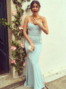 Elegant Mermaid Spaghetti Straps Open Back Mint Satin Long Prom Dresses,Charming Evening Party Dresses