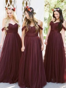 Unique A-Line Off the Shoulder Open Back Burgundy Tulle Long Bridesmaid Dresses