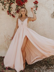 Modest A-Line Spaghetti Straps Open Back Peach Satin Long Prom Dresses with Side Split,Evening Party Dresses