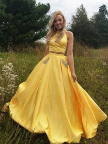 Romantic Two Piece Jewel Neck Open Back Yellow Satin Long Prom Dresses with Beading Pockets,Formal Evening Party Dresses