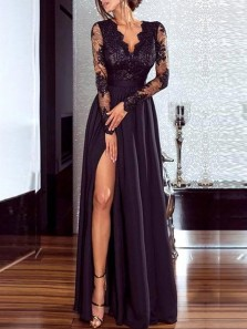Elegant A-Line V Neck Long Sleeve Black Satin Long Prom Dresses with Lace,Split Evening Dresses DG1212010
