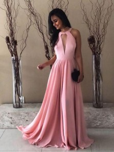 Charming A-Line Halter Open Back Pink Chiffon Long Prom Dresses,Evening Party Dresses