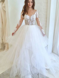 Romantic A-Line Round Neck Long Sleeve White Tulle Wedding Dresses,Lace Wedding Gown