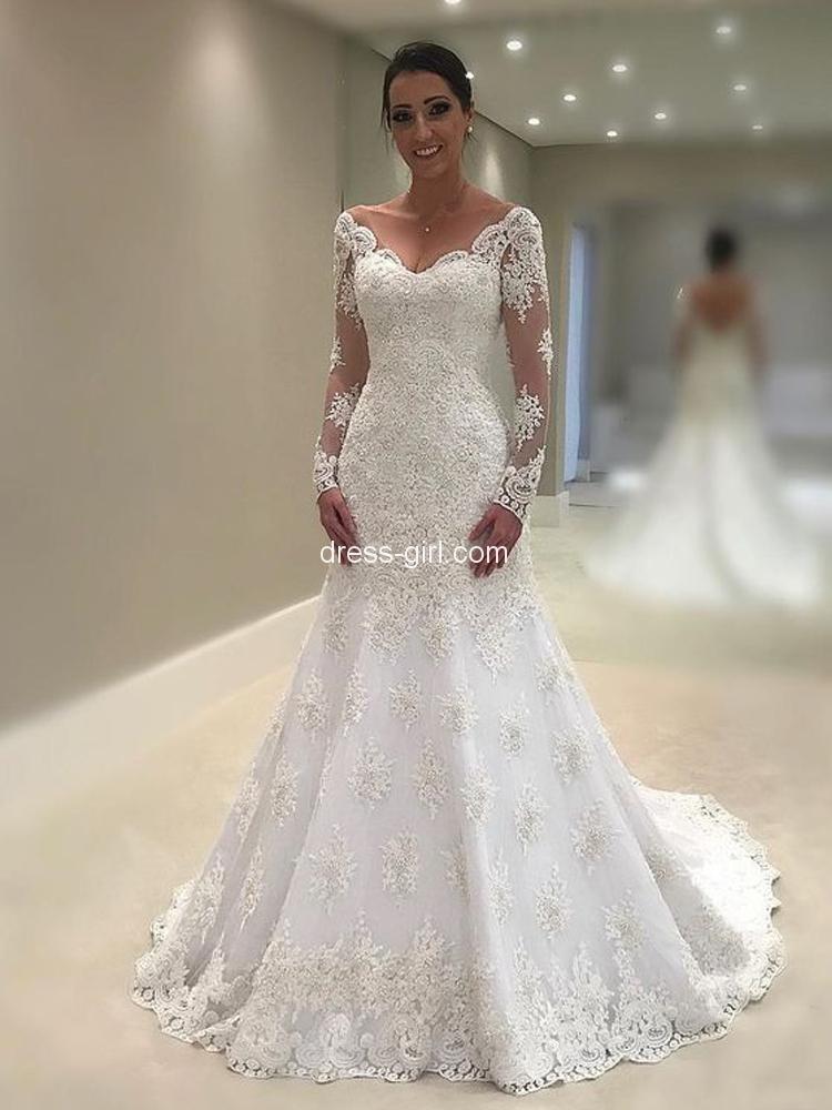c0455d6ab8159 Vintage V Neck Long Sleeve White Lace Wedding Dresses,Elegant Bridal Gown