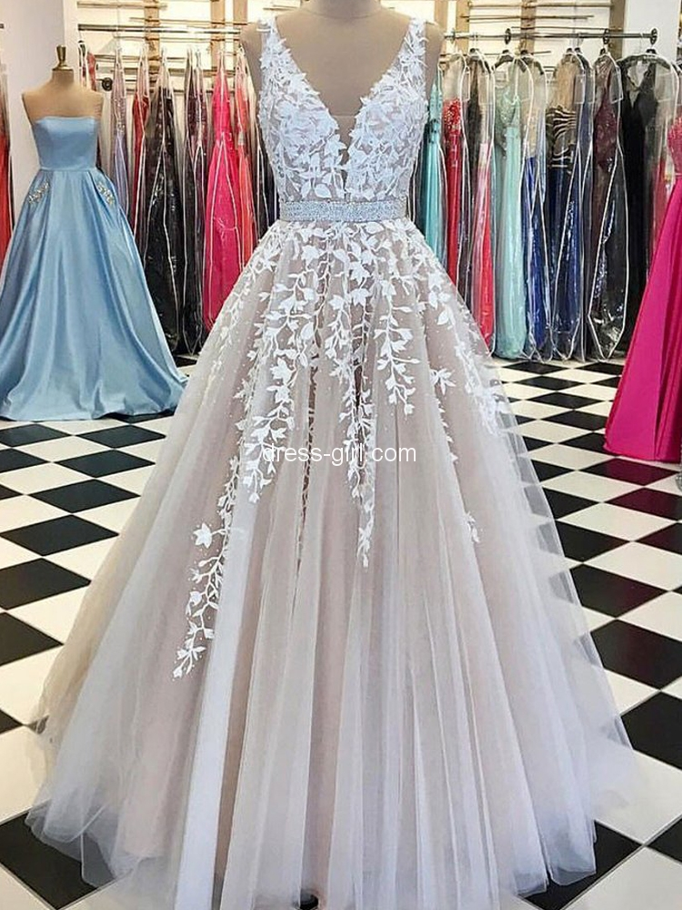 9714df7dcdf Charming A-Line V Neck Champagne Tulle White Lace Long Prom Dresses ...