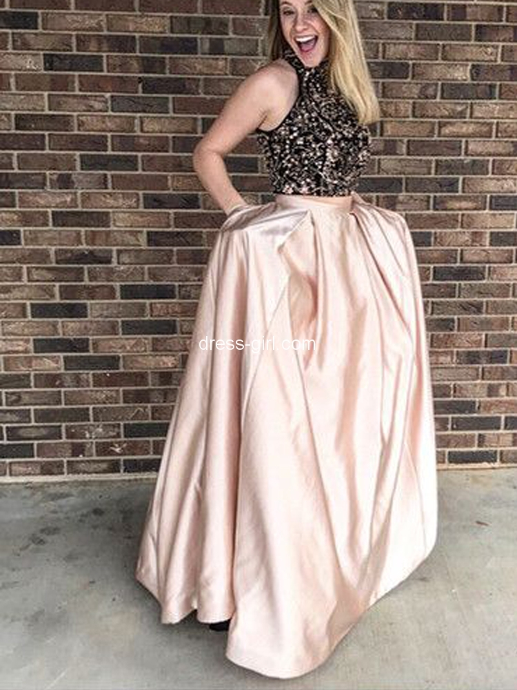 06afcc739fb Stylish Two Piece Round Neck Open Back Light Champagne Satin Long Prom  Dresses with Beads Pockets