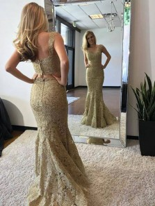 Gorgeous Mermaid Two Piece Open Back Gold Lace Long Prom Dresses,Formal Evening Party Dresses