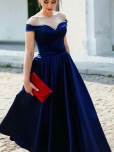 Simple A-Line Off the Shoulder Open Back Navy Blue Satin Long Prom Dresses with Pockets,Evening Party Dresses