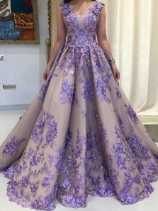 Gorgeous Ball Gown V Neck Open Back Lavender Long Prom Dresses,Quinceanera Dresses