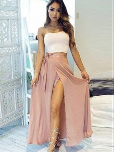 Chic Two Piece Strapless White Top Blush Satin Long Prom Dresses with Slit,Evening Dresses