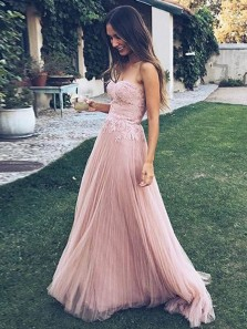 Elegant A-Line Sweetheart Open Back Pink Tulle Long Prom Dresses with Lace,Charming Evening Party Dresses