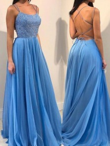 Graceful A-Line Scoop Neck Cross Back Blue Chiffon Long Prom Dresses with Beading,Formal Party Dresses