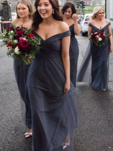 Elegant A-Line Off the Shoulder Open Back Dark Grey Tulle Long Bridesmaid Dresses