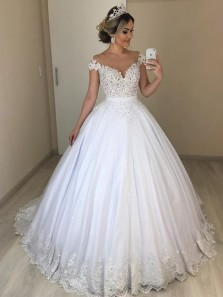Gorgeous Ball Gown Off the Shoulder Open Back White Tulle Wedding Dresses with Appliques,Bridal Gown