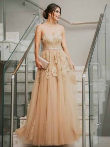 Elegant A-Line Sweetheart Open Back Champagne Tulle Long Prom Dresses with Appliques,Formal Party Dresses