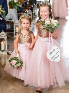 Sparkly A-Line Round Neck Pink Tulle Flower Girl Dresses with Sequins,Birthday Party Dresses