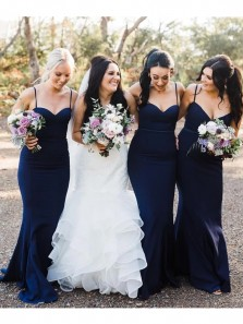 Mermaid Sweetheart Spaghetti Straps Navy Blue Elastic Satin Long Bridesmaid Dresses