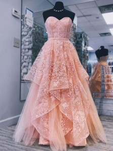 A-Line Sweetheart Open Back Pink Tulle Long Prom Dresses with Lace,Formal Party Dresses