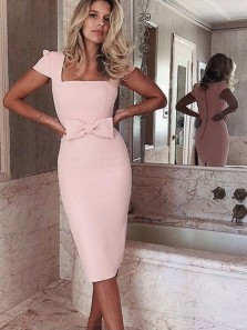 Bodycon Square Neck Cap Sleeved Knee Length Light Pink Satin Pencil Dresses,Short Homecoming Dresses,Wedding Guest Dresses