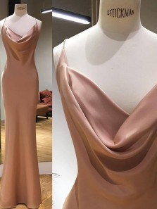 Modest Mermaid Cowl Neck Open Back Brown Elastic Satin Long Prom Dresses,Charming Evening Party Dresses