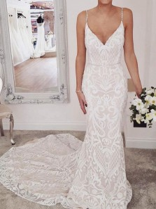 Stunning Mermaid V Neck Open Back Ivory Lace Wedding Dresses with Train