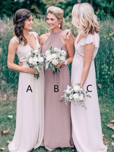 Elegant A-Line V Neck Open Back Pink Chiffon Long Bridesmaid Dresses