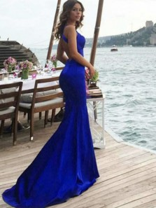 Fancy Mermaid Halter Open Back Elastic Satin Royal Blue Long Prom Dresses,Sexy Evening Party Dresses