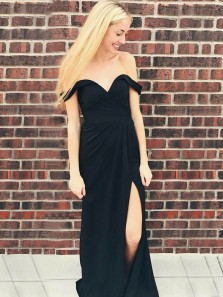 Simple Sheath Off the Shoulder Open Back Black Elastic Satin Long Prom Dresses with Side Split,Evening party Dresses