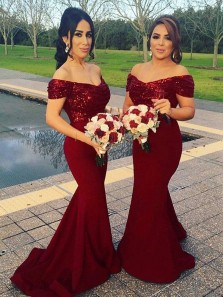 Sparkly Mermaid Off the Shoulder Open Back Burgundy Sequined Long Bridesmaid Dresses