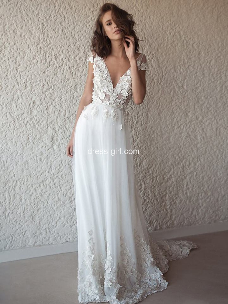 Romantic A Line V Neck Cap Sleeve Open Back White Wedding Dresses With Appliques