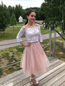 Cute A-Line Two Piece Off the Shoulder 3/4 Sleeve White Lace Blush Tulle Tea Length Homecoming Dresses,Wedding Party Dresses,Short Prom Dresses
