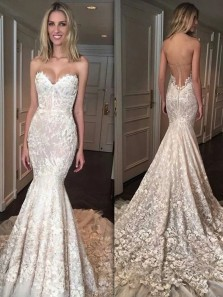 Modest Mermaid Sweetheart Court Train Tulle Wedding Dresses with Appliques Lace